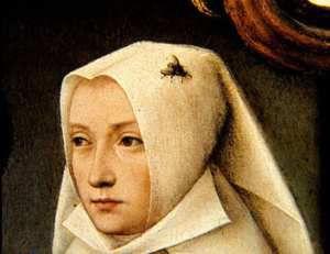 Maître de Francfort. Détail du portrait de l'artiste et son épouse.1476. HB. Anvers Musée Ryal des Beaux Arts.