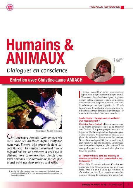 INTERVIEW sur la COMMUNICATION ANIMALE Magazine Sacrée Planète
