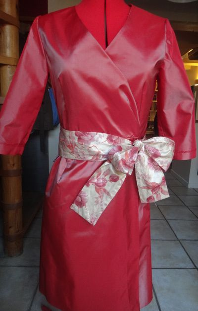 Robe portefeuille manches longues taffetas