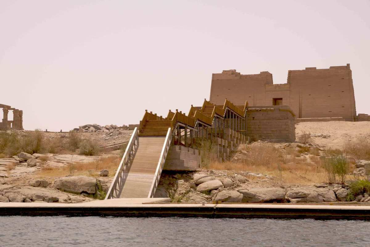 Nubian temple Kalabsha, view from landing scape so new