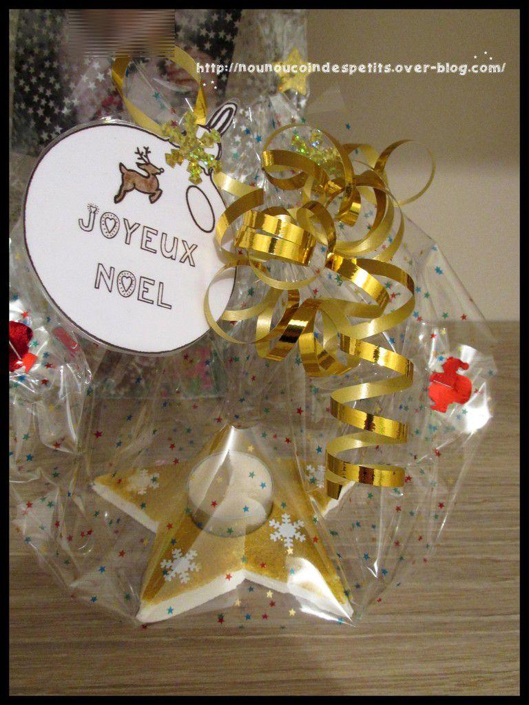 bougeoir étoile doré et étiquette boule de noel