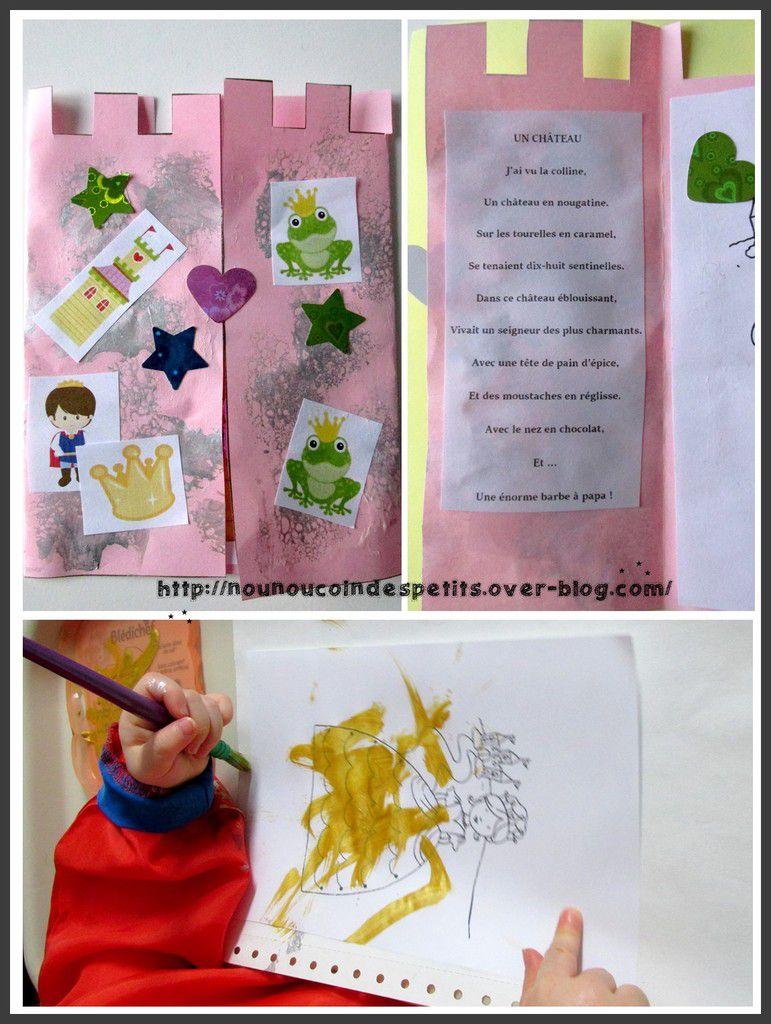 - peinture de la robe de la princesse et sur le château, collage de gommette étoile et motif épiphanie