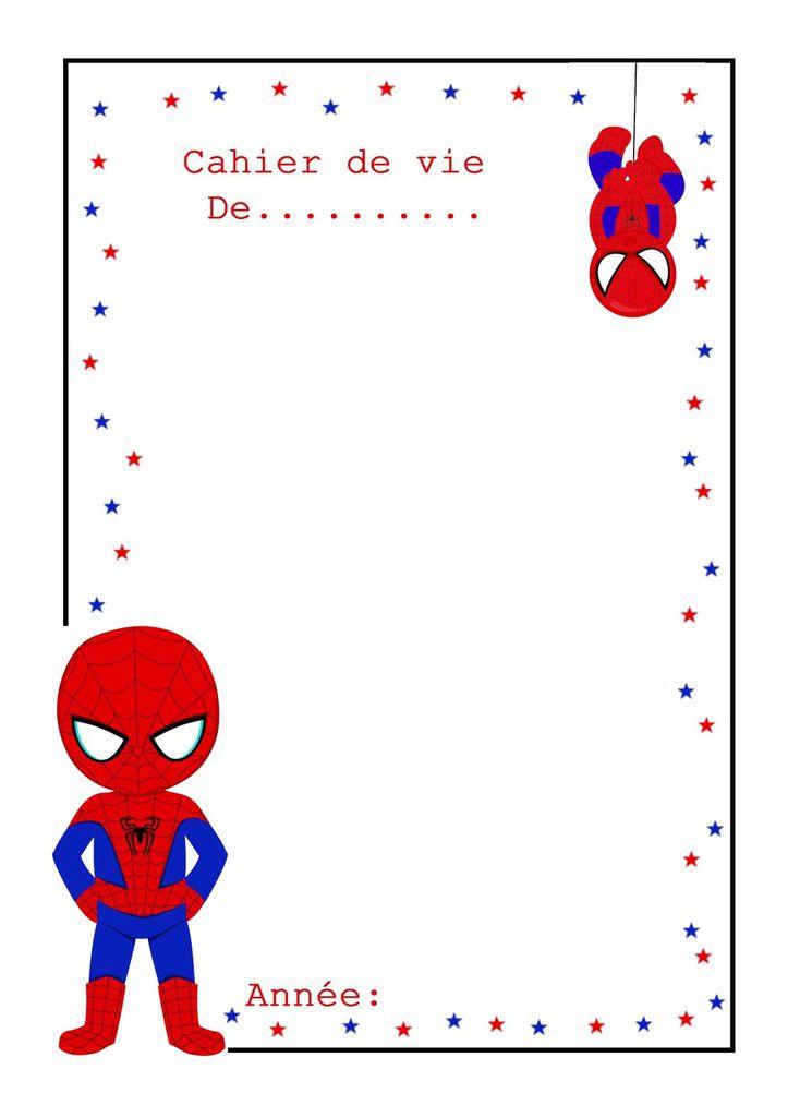 .. Couverture cahier de vie modèle spiderman ..