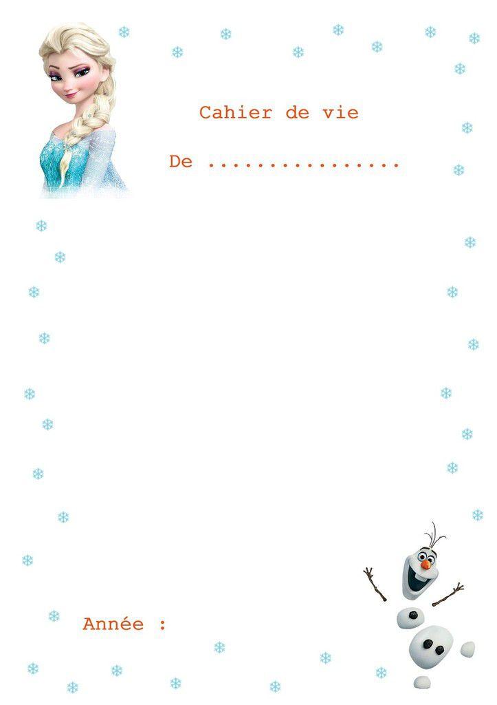 .. Couverture pour cahier de vie reine des neiges ..