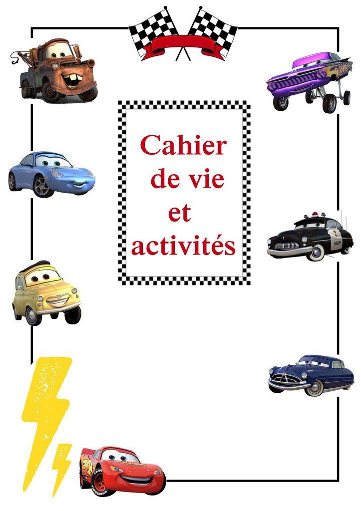 .. couverture cahier de vie modèle cars ..