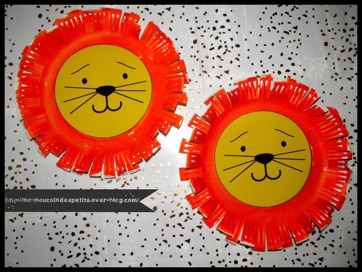 .. Le lion du cirque .. ( assiette en carton )