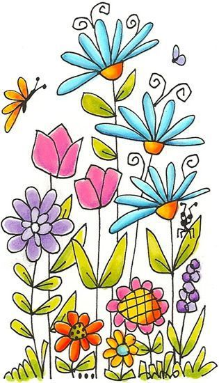 how to draw a garden with flowers