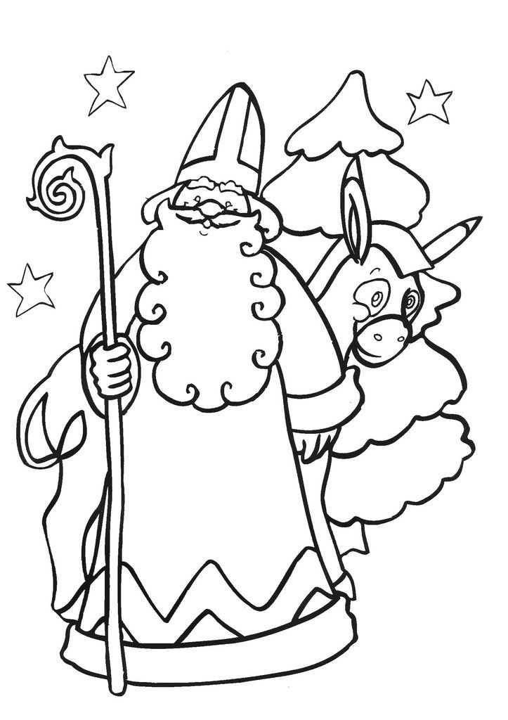 Coloriage De Saint Nicolas Tout Simple Le Blog De