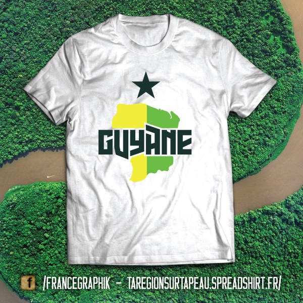 La Guyane sur ta peau - disponible en T-shirt, débardeur, sweatshirt, casquette, mug, tasse, sac, bag, badge, body, etc...