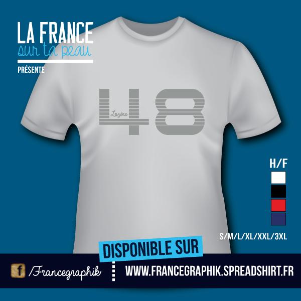 Lozère - Département 48 - disponible en T-shirt, débardeur, sweatshirt, casquette, mug, tasse, sac, bag, badge, body, etc...