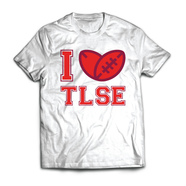 I Love TLSE (Toulouse - Rugby) - disponible en T-shirt, débardeur, sweatshirt, casquette, mug, tasse, sac, bag, badge, body, etc...