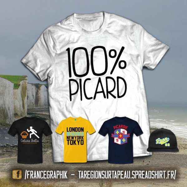La Picardie sur ta peau - disponible en T-shirt, débardeur, sweatshirt, casquette, mug, tasse, sac, bag, badge, body, etc...