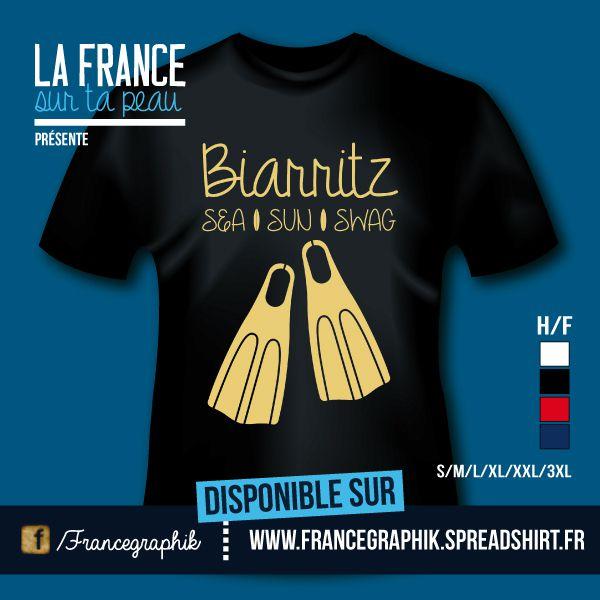 T-shirt - France - Aquitaine - Biarritz - Sea, sun & swag - disponible en T-shirt, débardeur, sweatshirt, casquette, mug, tasse, sac, bag, badge, body, etc...