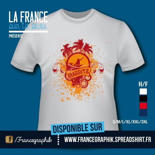 T-shirt - France - Aquitaine - Biarritz Surf - disponible en T-shirt, débardeur, sweatshirt, casquette, mug, tasse, sac, bag, badge, body, etc...