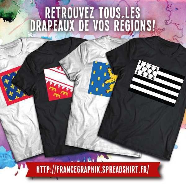 Tee shirt: France - Drapeaux des régions françaises - Drapeau Languedoc-Roussillon
