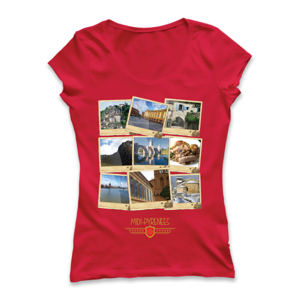 T-shirt: France - Midi-Pyrénées - Polaroïds - disponible en T-shirt, débardeur, sweatshirt, casquette, mug, tasse, sac, bag, badge, body, etc...