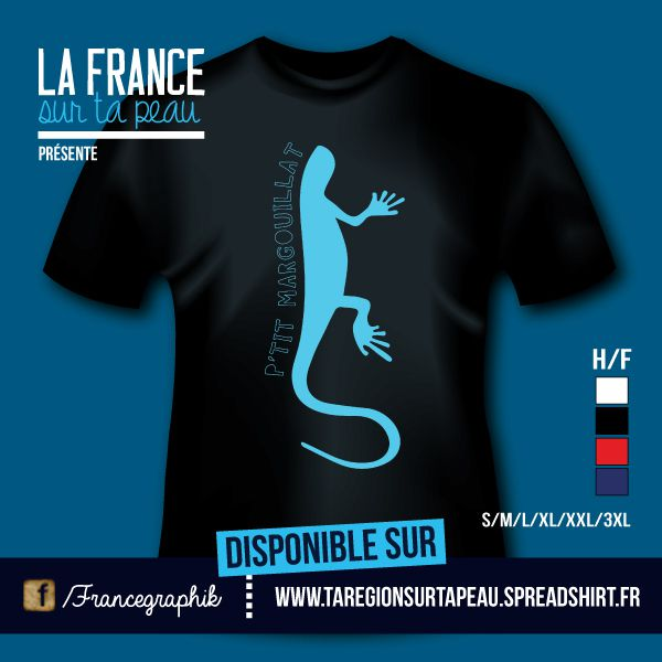 T-shirt: Guadeloupe - P'tit Margouillat - disponible en T-shirt, débardeur, sweatshirt, casquette, mug, tasse, sac, bag, badge, body, etc...