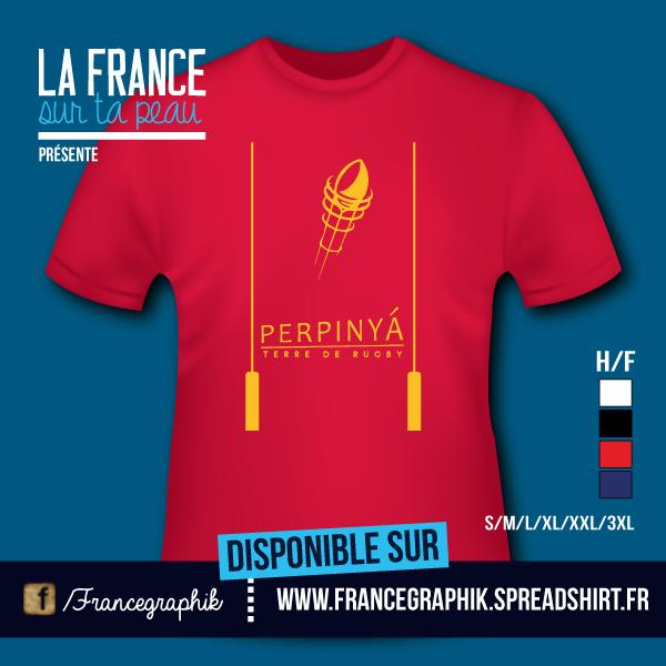 T-shirt: France - Languedoc-Roussillon - Perpinya Rugby - disponible en T-shirt, débardeur, sweatshirt, casquette, mug, tasse, sac, bag, badge, body, etc...