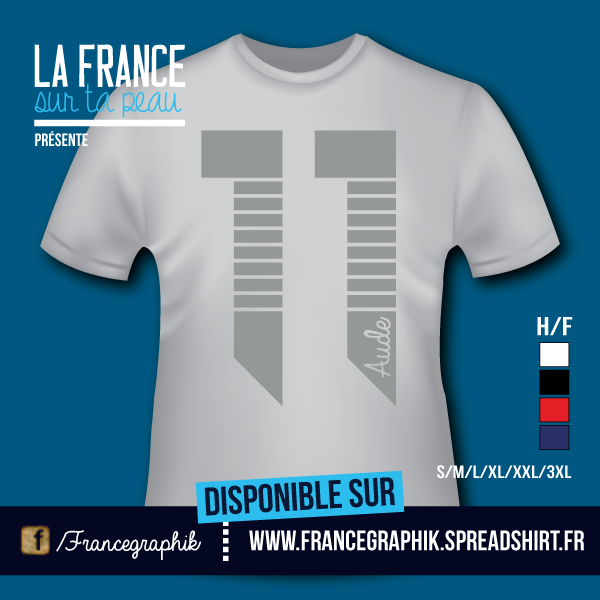T-shirt: France - Languedoc-Roussillon - Aude - Département 11 - disponible en T-shirt, débardeur, sweatshirt, casquette, mug, tasse, sac, bag, badge, body, etc...
