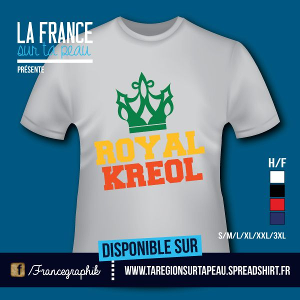 T-shirt: Guadeloupe - Royal Kreol - Neon - disponible en T-shirt, débardeur, sweatshirt, casquette, mug, tasse, sac, bag, badge, body, etc...