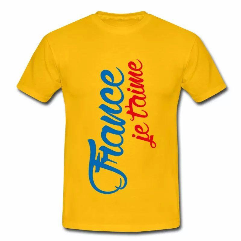 T shirt jaune pour hommes France je t'aime