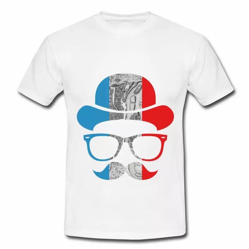 T shirt blanc pour hommes Tonton BBR en bleu blanc rouge