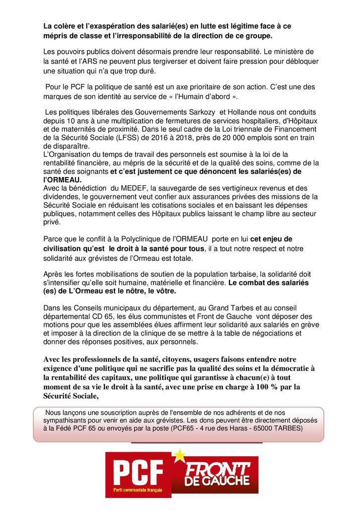 Polyclinique de l'Ormeau : la lutte de l'Humain d'Abord !
