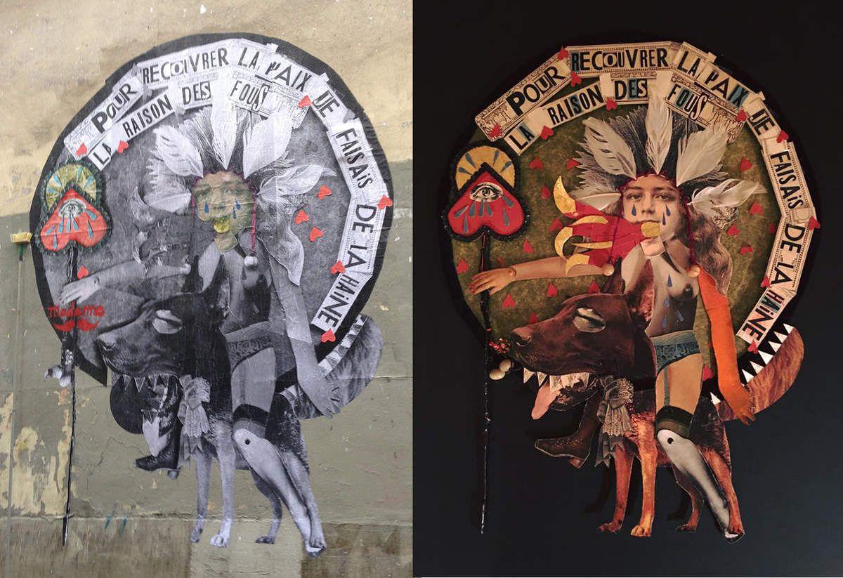 À gauche, le wallpaper enfin posé &#x3B; à droite, l'œuvre originale