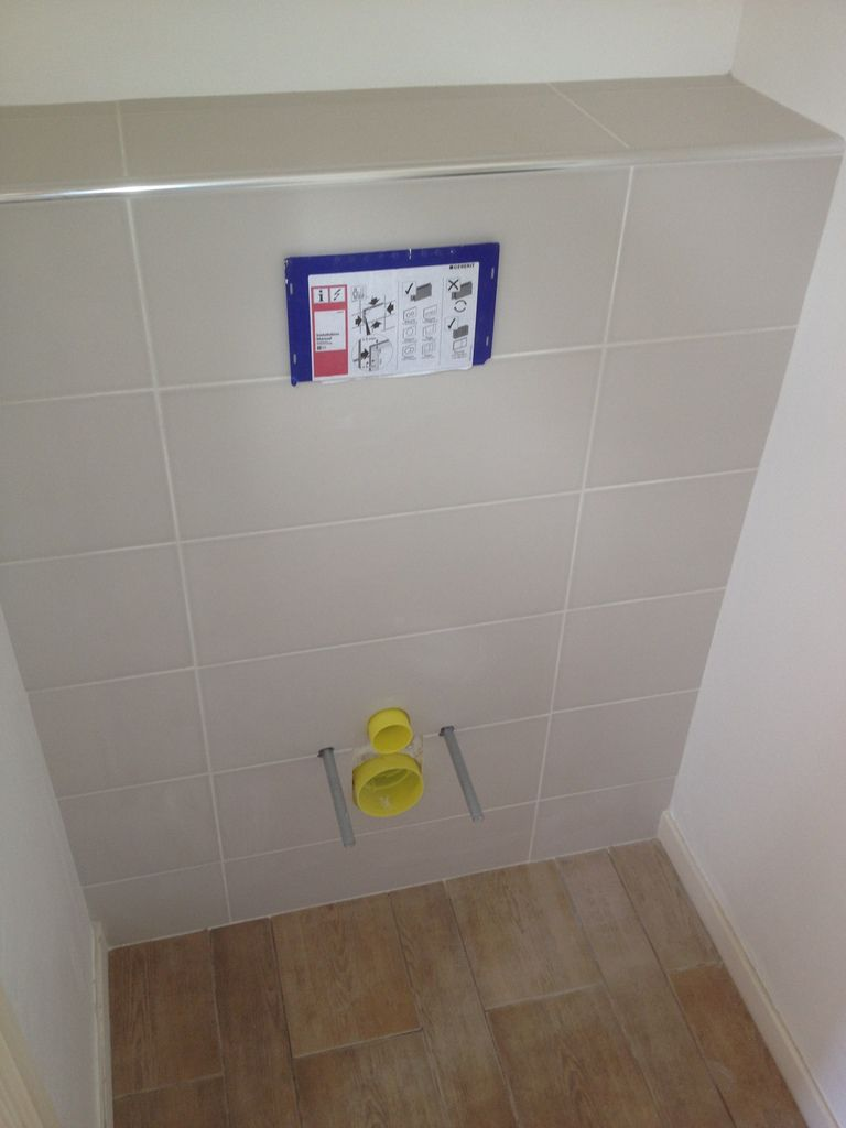 Poser du carrelage toilette suspendu for Poser du carrelage sur du placo