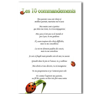 Relativ Les 10 commandements parrain marrainne - faire-part-emotion PA78