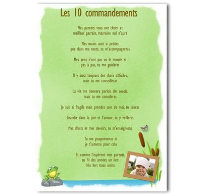 Bekannt Les 10 commandements parrain marrainne - faire-part-emotion XV31