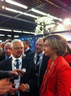 Valérie PECRESSE en campagne pour les Régionales 2015 avec Stéphane BAUDET Président de l'AMIF et Jean-Pierre SPILBAUER sur le stand de l'ACTEP