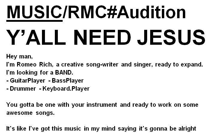 MUSIC/RMC#Audition Y'ALL NEED JESUS