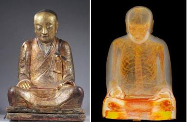 The mummified monk inside a Buddha statue