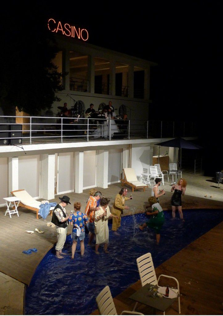 For this very well none play in east europ creat in Rijeka festival, Ivica Buljan ask me to find a space outside of theatre. I chose an old comunist beach abandoned. I transform this place near the see in spa. I reuse half of the swiming pool and build a seeting back at the see. We have an ochestra on first fllor and on second floor I suggest a casino. The first year this production had a big succes and they re-did it year after year.
