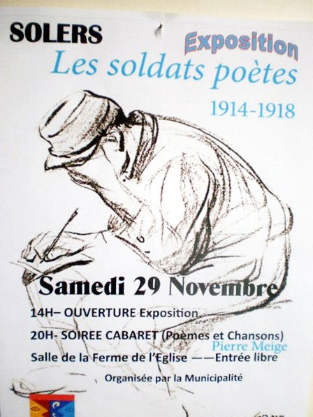 Soldats poètes de 14-18, avec notre ursidé Pierre Meige le 29 novembre