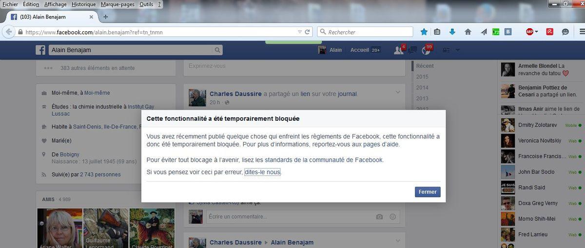 Notification de mon interdiction de publier sur FaceBook (cliquer sur l'image pour agrandir)