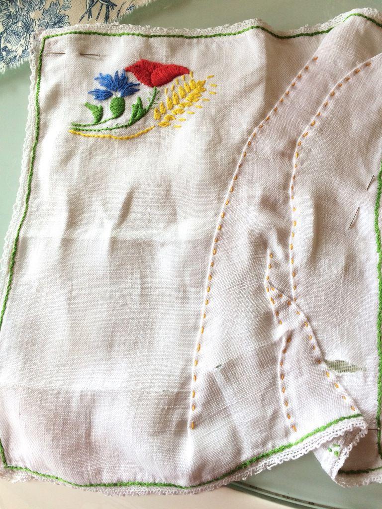 Une serviette comme support