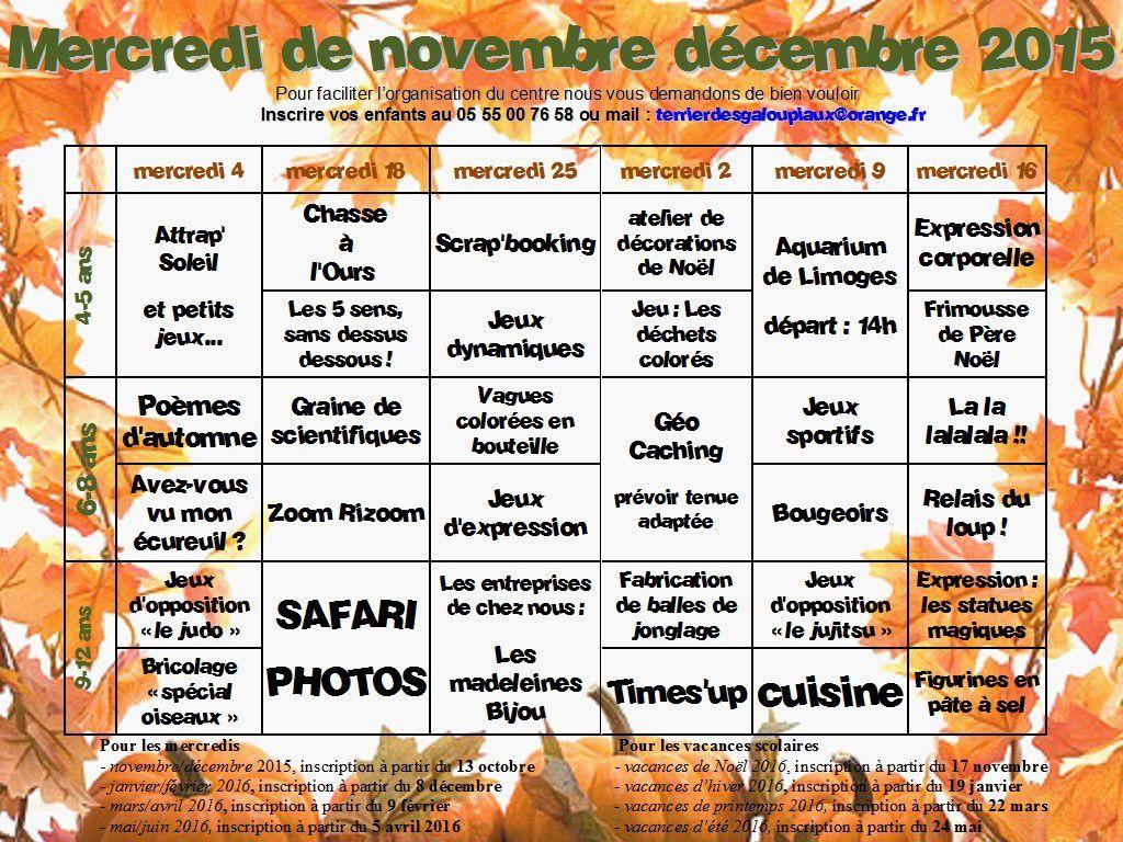 programme des mercredis de novembre et décembre 2015