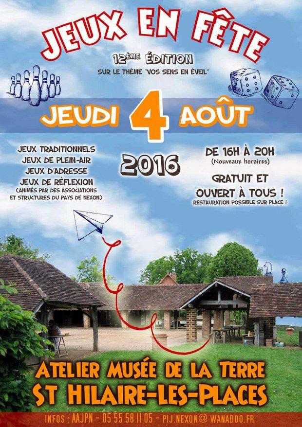 JEUX EN FETE - 12ème édition - JEU. 4 AOUT 2016