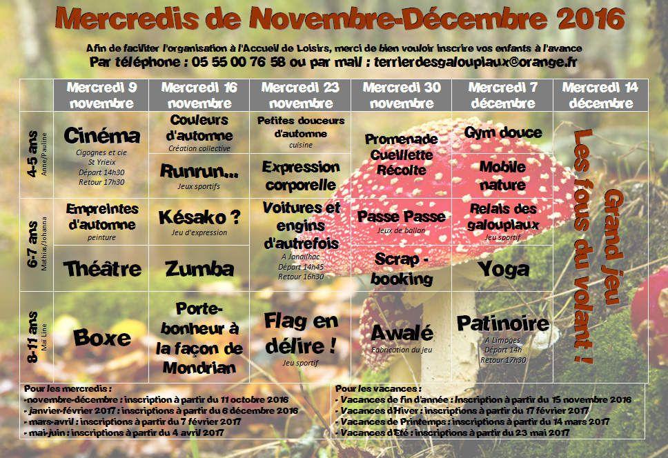 Programme des MERCREDIS de NOVEMBRE et DECEMBRE 2016