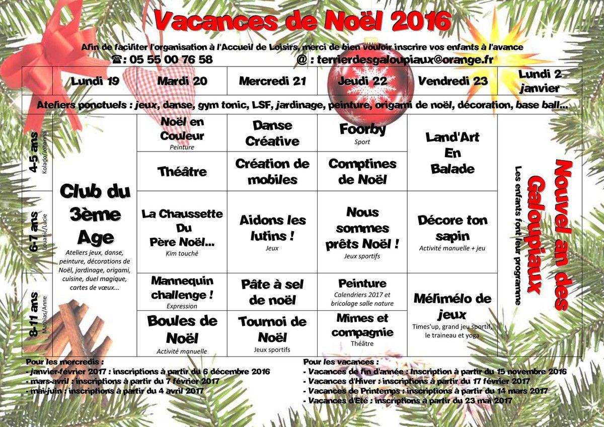 Programme des vacances de fin d'année au Terrier des Galoupiaux