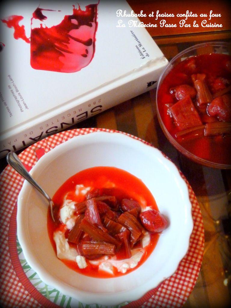 Rhubarbe et fraises confites au four