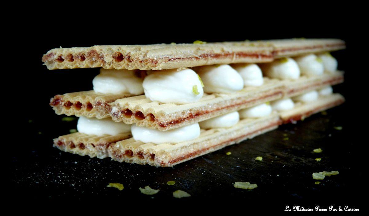 Millefeuille express aux Paille d'Or, crème de yaourt et citron vert