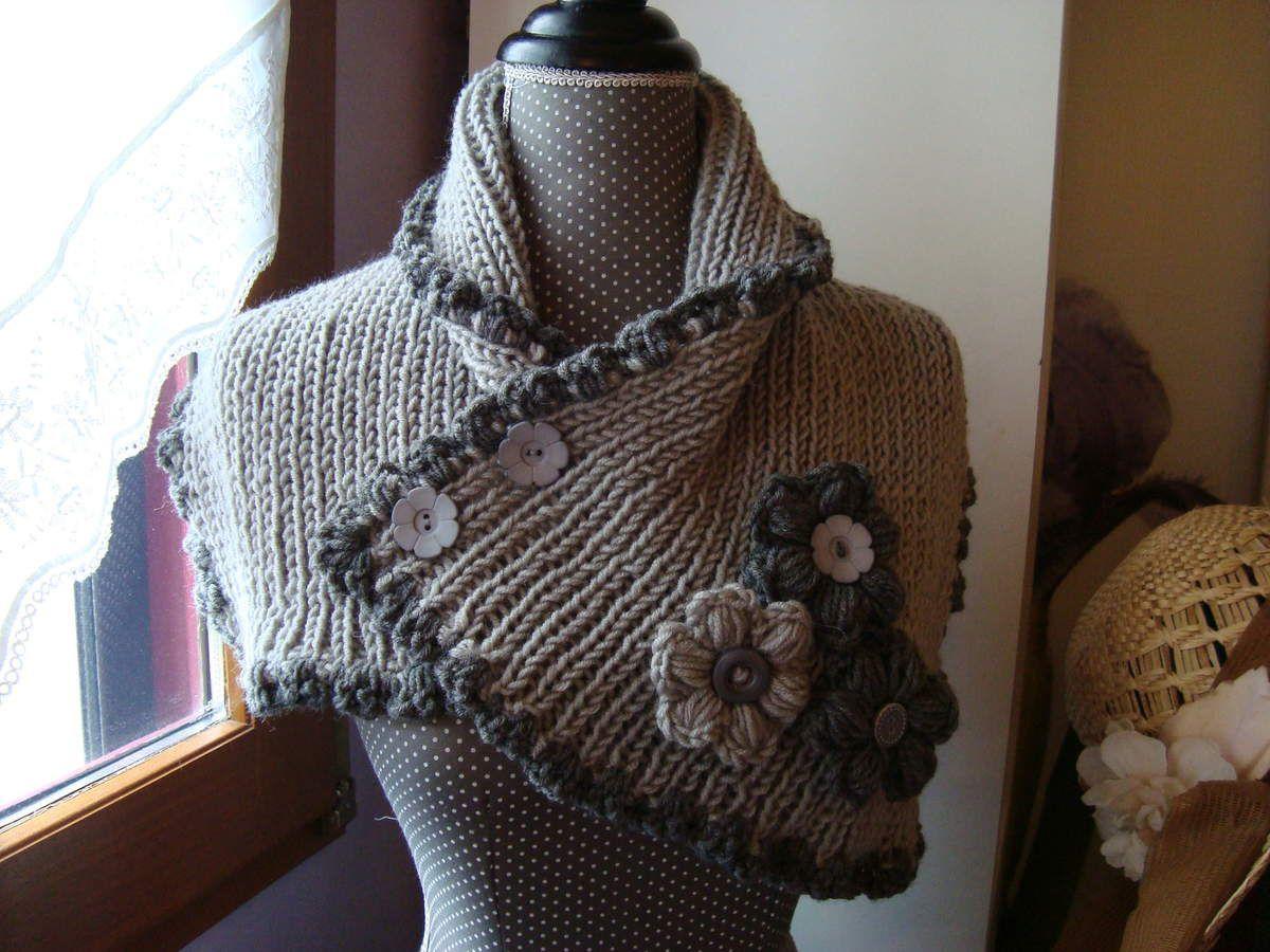 10c19244f06 Cache-cou en laine - Cache-épaule - Col - Snood tricoté en côtes ...