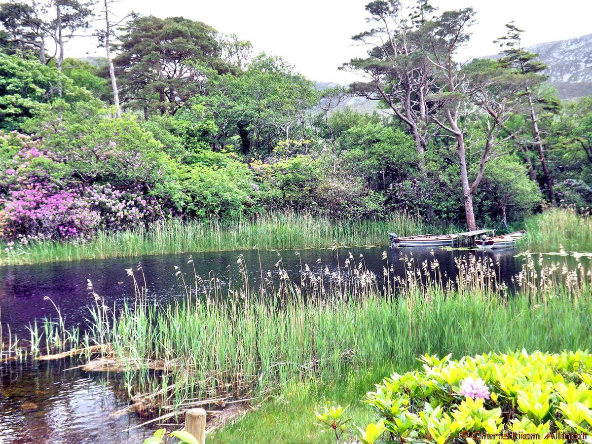 Le chateau de  Kylemore et le lac Pollacappull