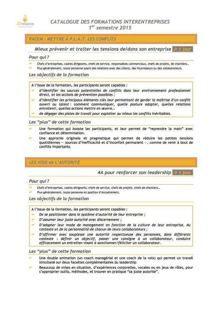 Notre catalogue formation interentreprises 1er semestre 2015