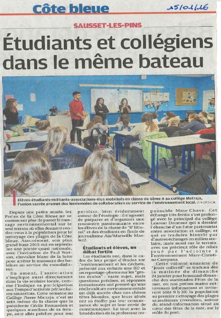 Article dans le journal de la rencontre étudiants/collégiens au collège Pierre Matraja