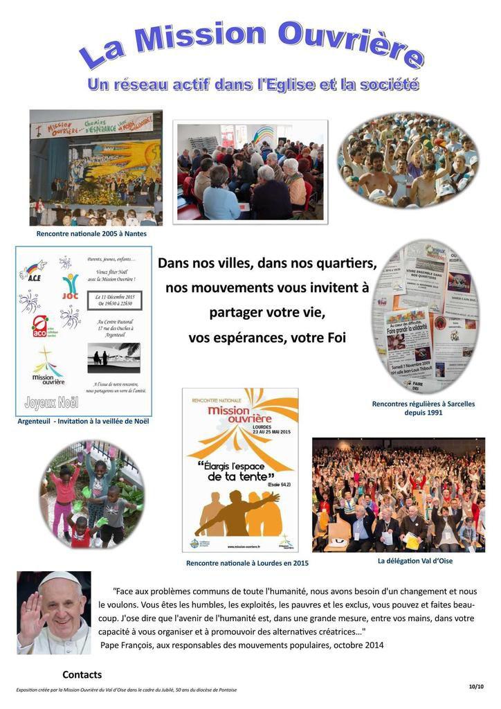 Expositon créée  par la Mission Ouvrière  du Val d'Oise dans le cadre du Jubilé, 50 ans du diocèse de PONTOISE (95)