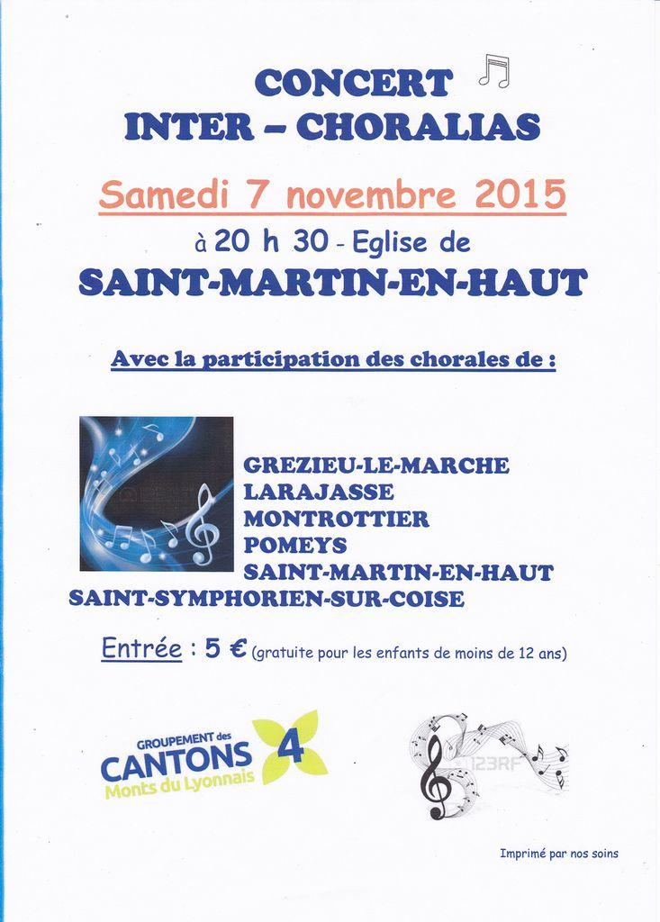 Choralias 2015 - Samedi 7 novembre 20h30 - Eglise de Saint Martin en Haut